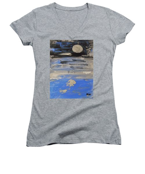 Moon In October Sky Women's V-Neck T-Shirt (Junior Cut) by Mary Carol Williams