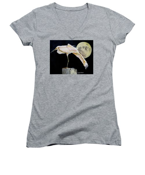 Women's V-Neck T-Shirt (Junior Cut) featuring the painting Moon Over Mississippi A Snowy Egrets Perspective by Phyllis Beiser