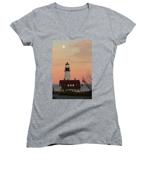 Moon Over Portland Head Lighthouse Women's V-Neck T-Shirt