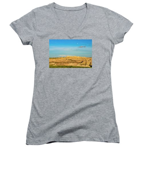 Moon Over The Badlands Women's V-Neck