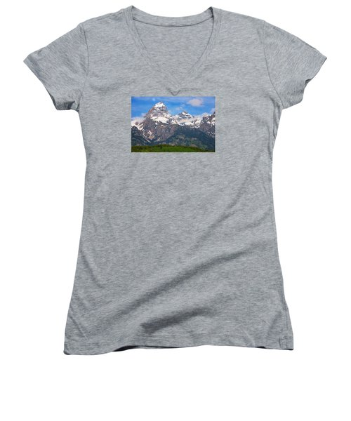 Moon Over The Tetons Women's V-Neck (Athletic Fit)