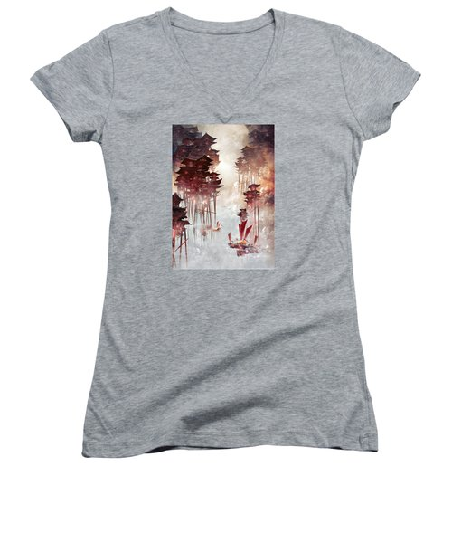 Women's V-Neck T-Shirt (Junior Cut) featuring the digital art Moon Palace by Te Hu