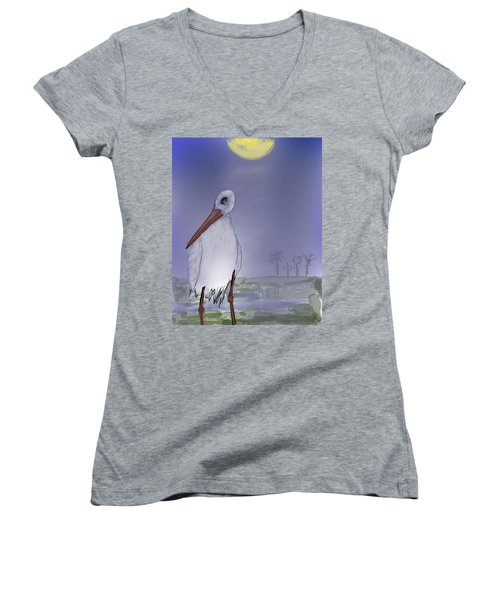 Moon Rise Becomes A Stork Women's V-Neck