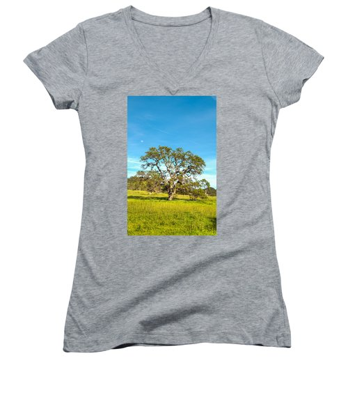 Moon Rising Meadow With Wild Flowers Women's V-Neck (Athletic Fit)