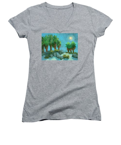 Women's V-Neck T-Shirt (Junior Cut) featuring the painting Moon Shadows Indian Canyon by Diane McClary