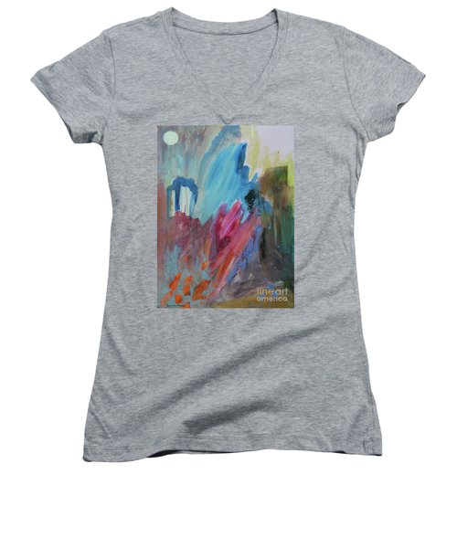 Women's V-Neck T-Shirt featuring the painting Moonchaser by Robin Maria Pedrero