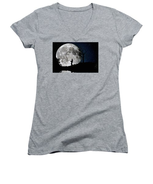 Women's V-Neck T-Shirt (Junior Cut) featuring the photograph Moonlight Fishing Under The Supermoon At Night by Justin Kelefas