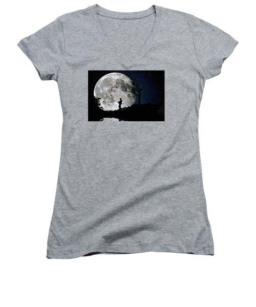 Moonlight Fishing Under The Supermoon At Night Women's V-Neck T-Shirt (Junior Cut) by Justin Kelefas