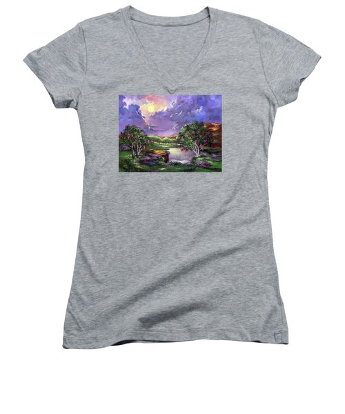 Moonlight In The Woods Women's V-Neck (Athletic Fit)