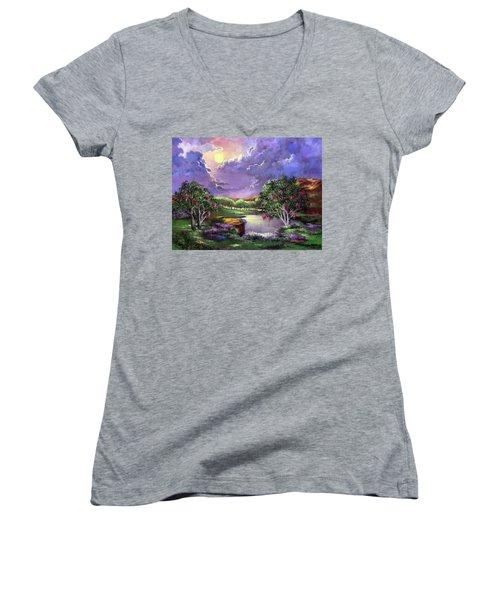Moonlight In The Woods Women's V-Neck T-Shirt