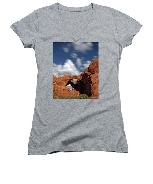 Moonlight On Double Arch In Arches Np Women's V-Neck