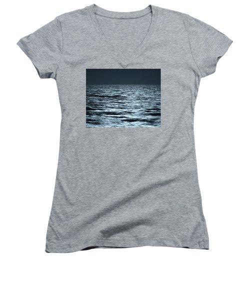 Moonlight On The Ocean Women's V-Neck T-Shirt (Junior Cut) by Nancy Landry