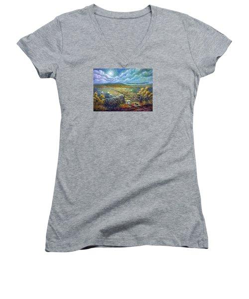 Moonlight Rendezvous Women's V-Neck T-Shirt (Junior Cut) by Retta Stephenson