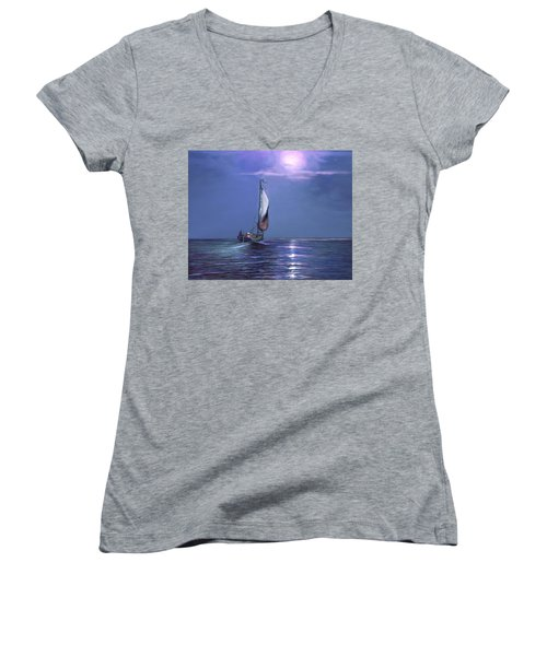 Moonlight Sailing Women's V-Neck T-Shirt (Junior Cut) by David  Van Hulst