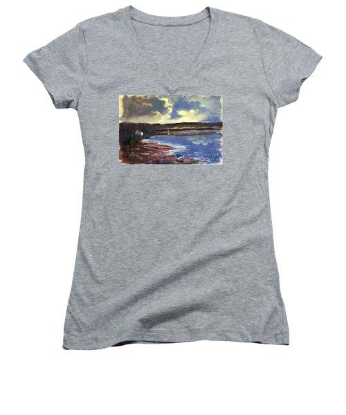 Moonlit Beach Women's V-Neck T-Shirt (Junior Cut) by Genevieve Brown