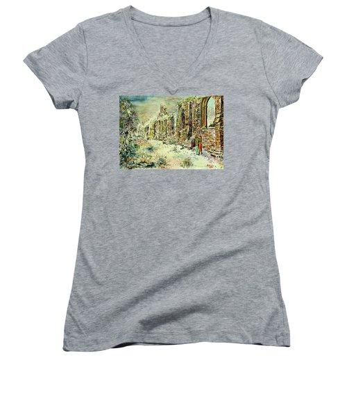Moonlit Footsteps On Holy Ground Women's V-Neck T-Shirt (Junior Cut) by Alfred Motzer