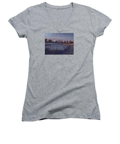 Moonlit Lavender Fields Women's V-Neck T-Shirt (Junior Cut) by Jane Thorpe