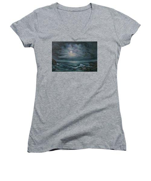 Moonlit Seascape Women's V-Neck