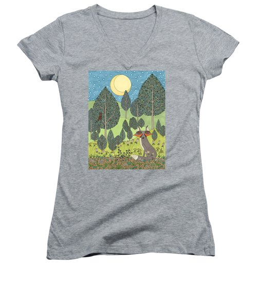 Moonlit Meadow Women's V-Neck (Athletic Fit)