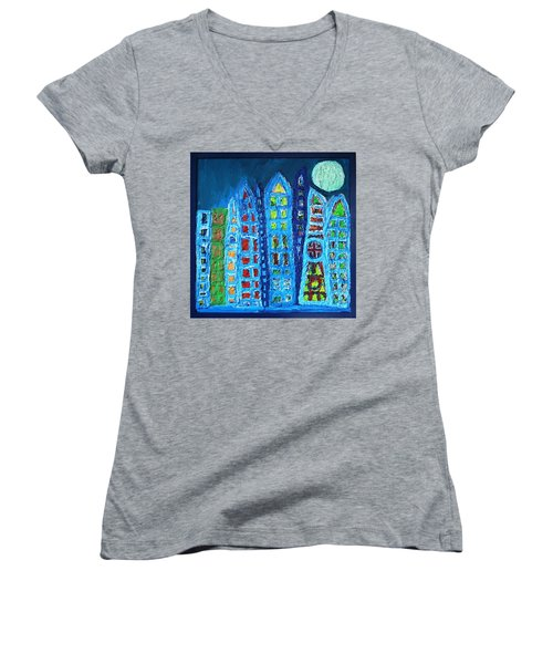 Moonlit Metropolis Women's V-Neck T-Shirt