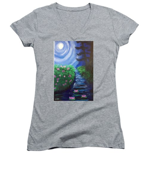 Women's V-Neck T-Shirt (Junior Cut) featuring the painting Moonlit Stream by Diana Riukas