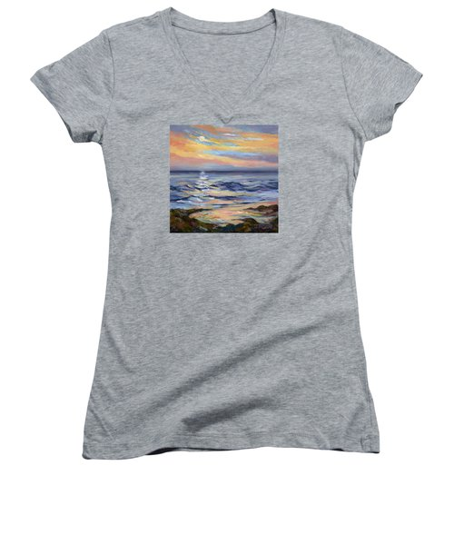 Moonrise At Cabrillo Beach Women's V-Neck T-Shirt