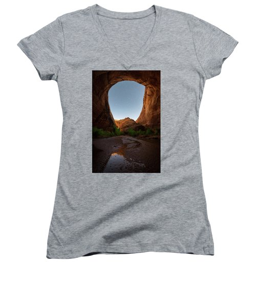 Women's V-Neck T-Shirt (Junior Cut) featuring the photograph Moonrise At Coyote Gulch by Dustin LeFevre