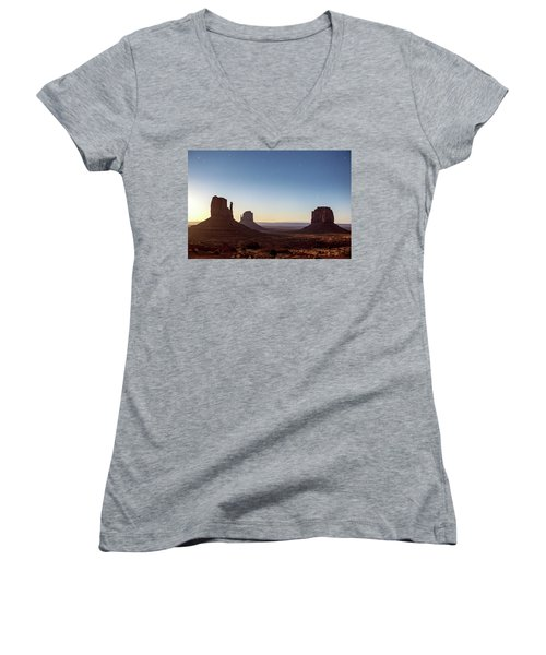 Moonrise Over Monument Valley Women's V-Neck (Athletic Fit)