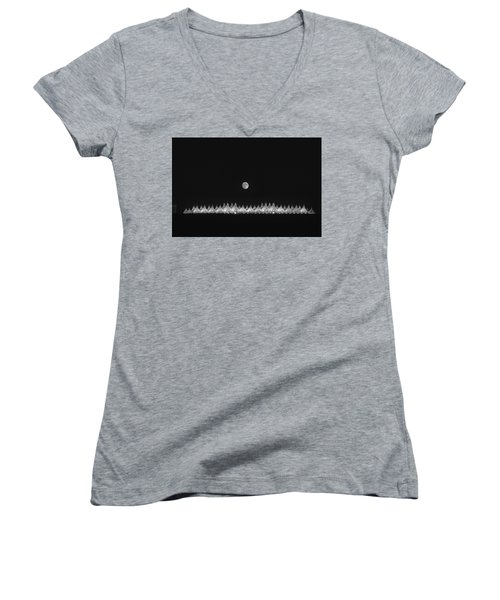 Women's V-Neck T-Shirt (Junior Cut) featuring the photograph Moonset Over Dia by Kristal Kraft