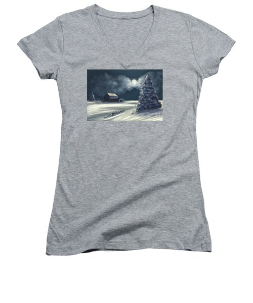 Women's V-Neck T-Shirt (Junior Cut) featuring the digital art Moonshine On The Snow by Lois Bryan