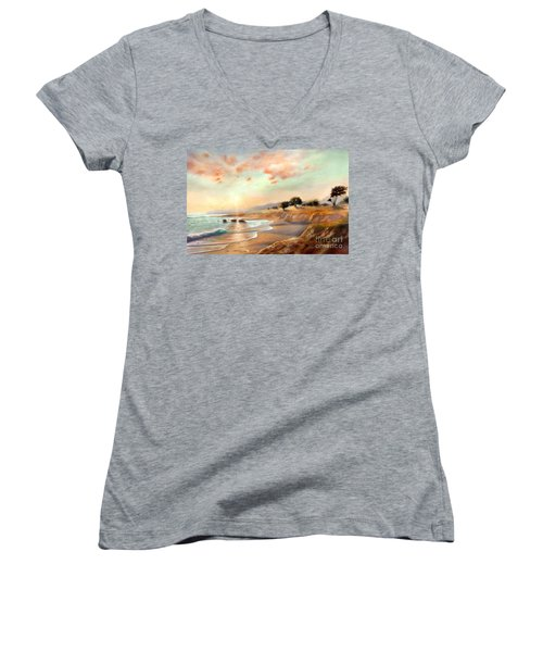 Women's V-Neck T-Shirt (Junior Cut) featuring the painting Moonstone Beach California by Michael Rock