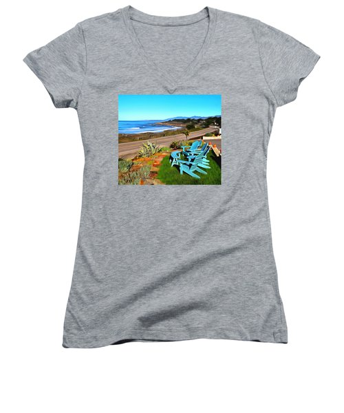 Women's V-Neck T-Shirt (Junior Cut) featuring the photograph Moonstone Beach Seat With A View Digital Painting by Barbara Snyder
