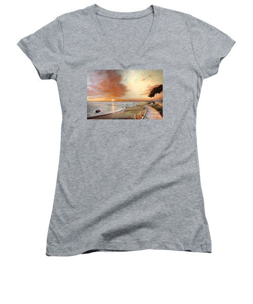 Women's V-Neck T-Shirt (Junior Cut) featuring the painting Moonstone Cambria Sunset by Michael Rock