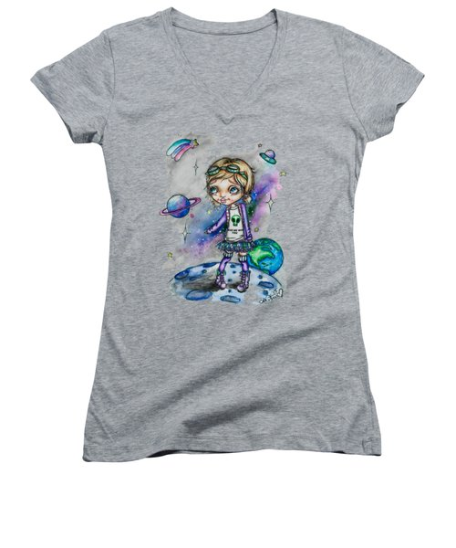 Women's V-Neck T-Shirt (Junior Cut) featuring the painting Moonwalker by Lizzy Love