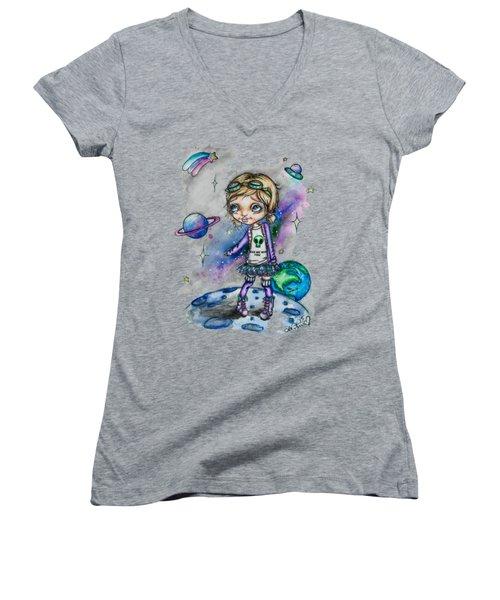 Moonwalker Women's V-Neck T-Shirt (Junior Cut) by Lizzy Love