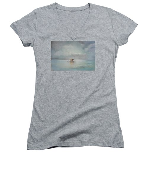 Moored Boat Women's V-Neck T-Shirt (Junior Cut) by Marty Garland