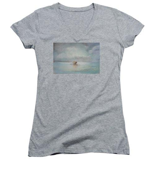 Moored Boat Women's V-Neck T-Shirt