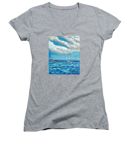 Moored In The Bay Women's V-Neck T-Shirt (Junior Cut) by J R Seymour