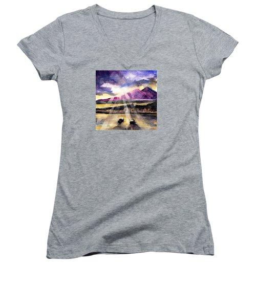 Mooring In Vancouver Tonight Women's V-Neck T-Shirt (Junior Cut) by Randy Sprout