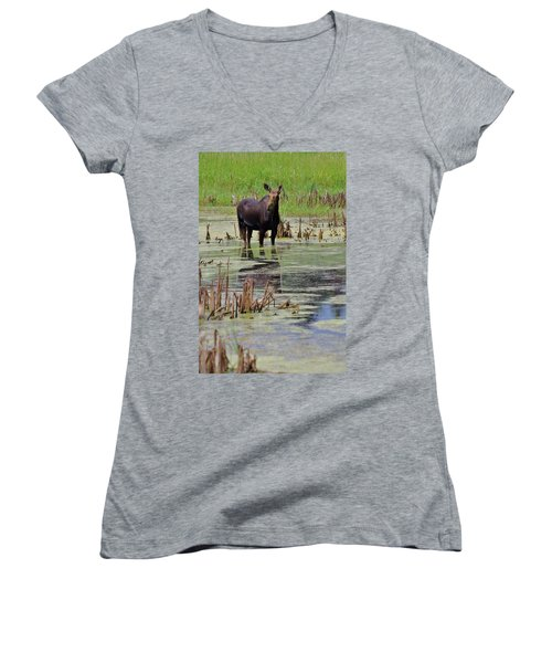 Moose Enjoying Dinner Women's V-Neck T-Shirt (Junior Cut) by Matt Helm