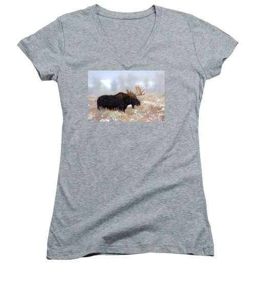 Women's V-Neck T-Shirt (Junior Cut) featuring the photograph Moose In The Fog Silhouette by Adam Jewell