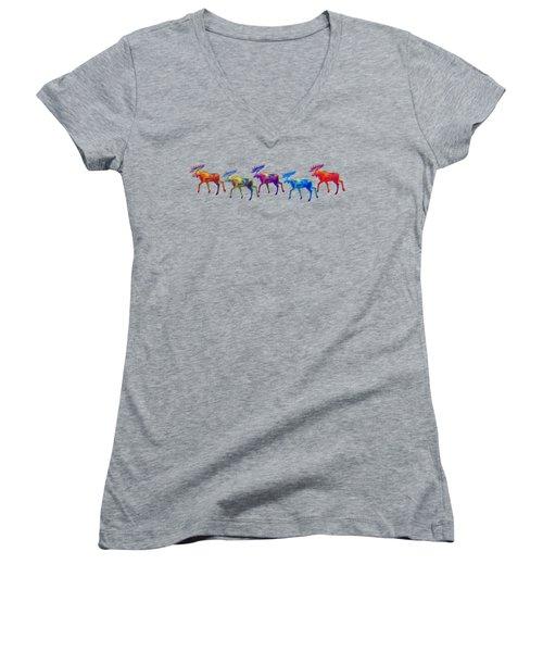 Moose Mystique Apparel Design Women's V-Neck T-Shirt (Junior Cut) by Teresa Ascone