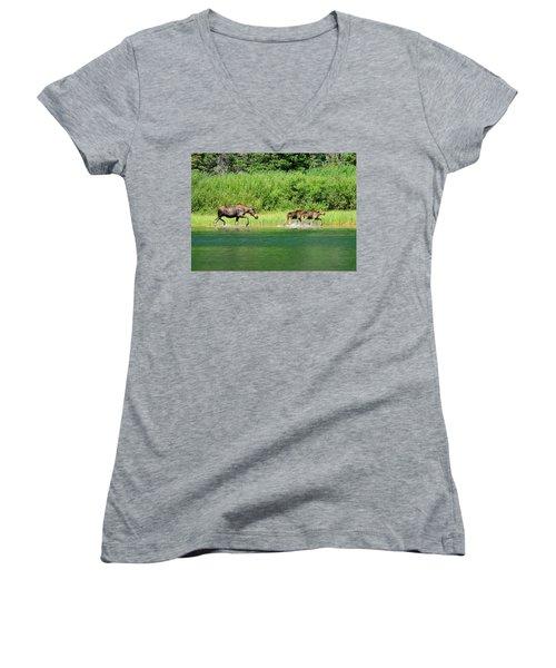 Moose Play Women's V-Neck T-Shirt (Junior Cut) by Greg Norrell