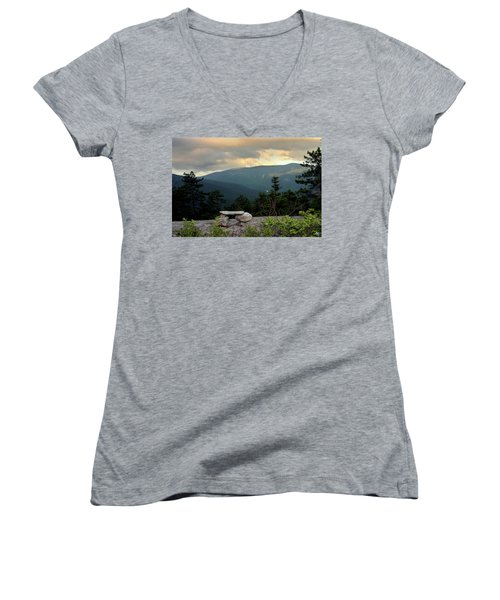 Moosilaukee View From Bench On Blueberry Mt. Women's V-Neck