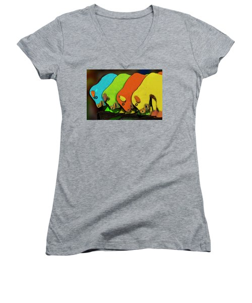 Women's V-Neck T-Shirt (Junior Cut) featuring the photograph Mooving On by Paul Wear
