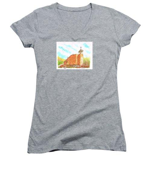 Morada De La Conquistadora Chapel, Santa Fe, New Mexico Women's V-Neck T-Shirt (Junior Cut) by Carlos G Groppa