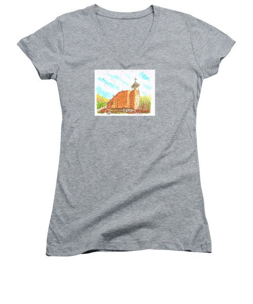 Morada De La Conquistadora Chapel, Santa Fe, New Mexico Women's V-Neck (Athletic Fit)