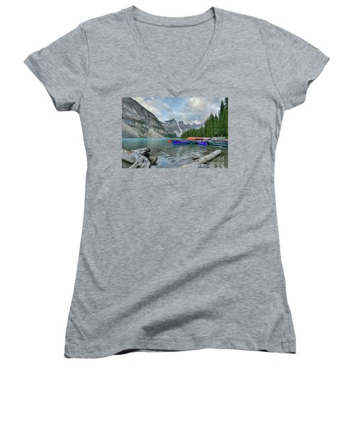 Moraine Logs And Canoes Women's V-Neck