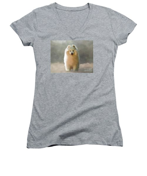 Women's V-Neck T-Shirt featuring the digital art More Snow Please by Lois Bryan