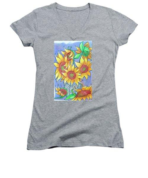 More Sunflowers Women's V-Neck